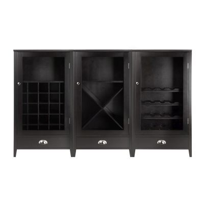Expresso 3 Piece Wine Cabinet With Tempered Glass Doors - 92359