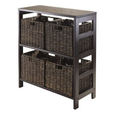 Granville 5 Piece Storage Shelf with 4 Baskets in Espresso - 92361