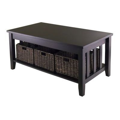 Morris Coffee Table with Three Foldable Baskets in Espresso - 92441