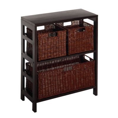Leo 4 Piece Shelf and Basket Set in Espresso Beechwood - 92649