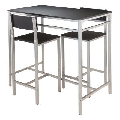 Hanley 3 Piece Pub Table Set in Black - 93336
