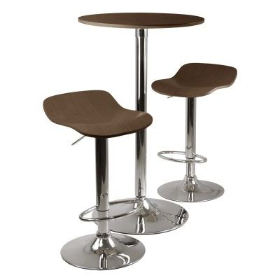 Kallie 3 Piece Pub Table and Stools Set in Cappuccino - 93344