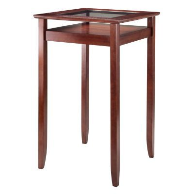 Halo Pub Table with Glass Inset & Shelf Walnut - 94127