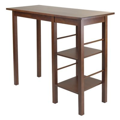 Egan Breakfast Table with 2 Side Shelves in Antique Walnut - 94144