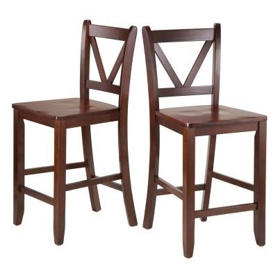 Victor 24' V Back Bar Stools in Walnut - 94253