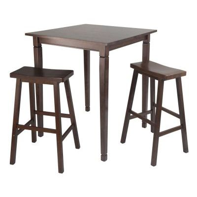 Kingsgate 3 Piece Solid Wood Pub Table with 2 Saddle Stools - 94300