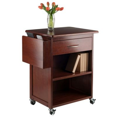 Maxwell Media Cart with Gadget Caddy in Walnut - 94317