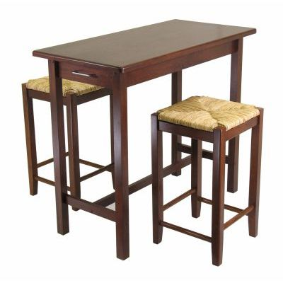 Sally 3 Piece Island Rectangular Stoneberry Dining Set - 94374