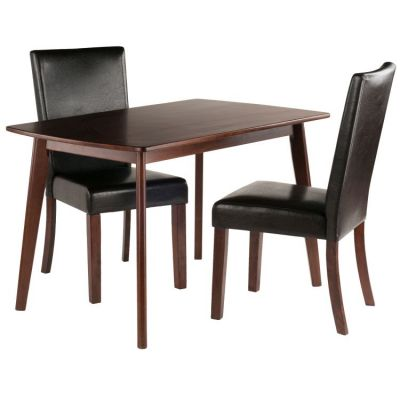 Shaye 3 piece Faux Leather Dining Set in Walnut - 94375