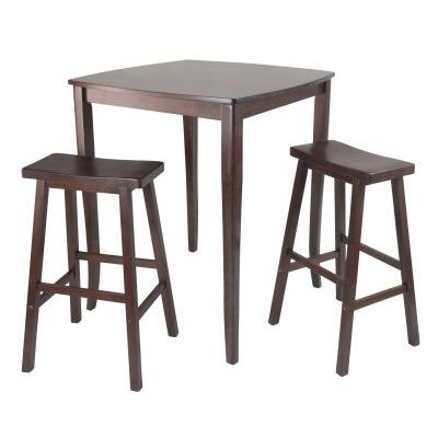 Inglewood 3 Piece Square Pub Stoneberry Dining Set in Walnut - 94380