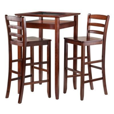 Halo 3 Piece Pub Table Set with 2 Ladder Back Stools - 94386