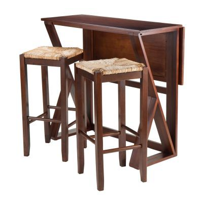 Harrington 3-Piece High Table and two 29' Rush Seat Stools - 94393