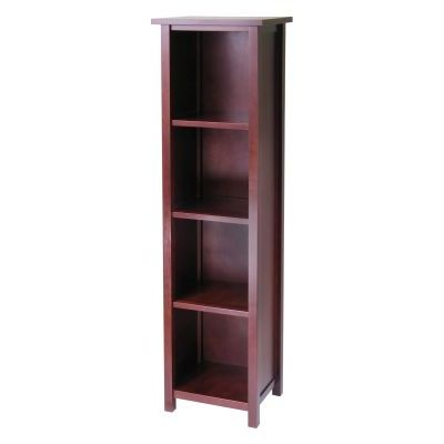 Milan Tall Storage Shelf in Antique Walnut - 94416