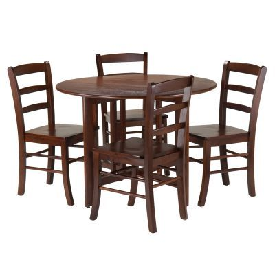 Alamo 5 Piece Drop Leaf Table with Ladder Back Chairs - 94551