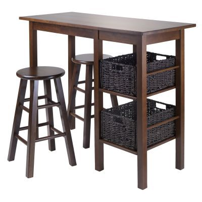 Egan 5 Piece Table with two 24' Round Top Stools & 2 Baskets