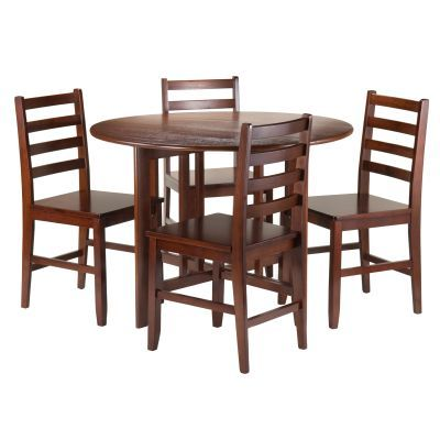Alamo 5 Piece Round Drop Leaf Table & 4 Ladder Back Chairs - 94565