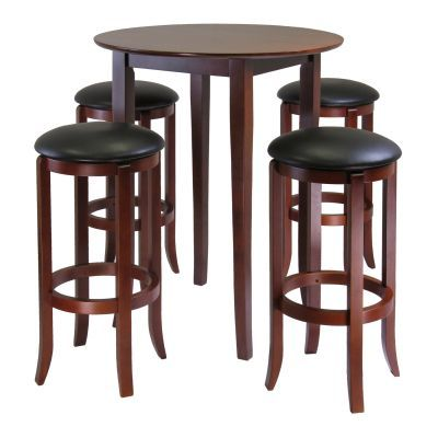 Fiona Round 5 Piece Pub Table Set with PVC Swivel Stools - 94581