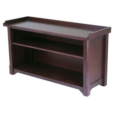 Milan Bench with Storage Shelf in Antique Walnut - 94640