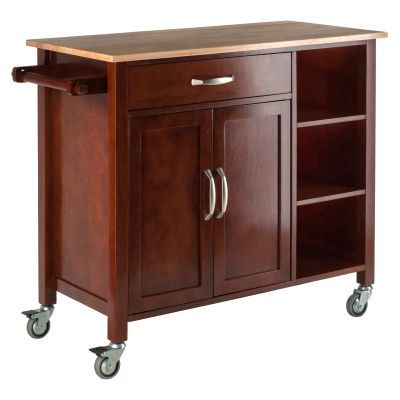 Mabel Kitchen Cart Walnut/Natural - 94843