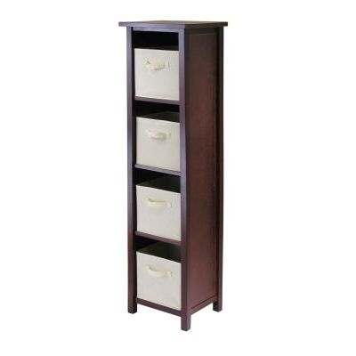 Verona 5-Tier Storage Shelf with 4 Foldable Beige Baskets - 94861