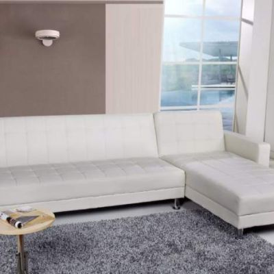 Frankfort Convertible Sectional Sofa Bed in White - ADC-FRA-SEC-PUX-WHI