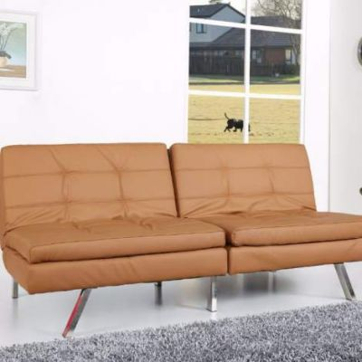 Memphis Double Cushion Futon Sofa Bed in Camel - ADC-MEM-CSB-PUX-CAM