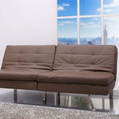 Memphis Double Cushion Futon Sofa Bed in Taupe - ADC-MEM-CSB-PUX-TAU