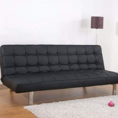 Vegas Futon Sofa Bed in Black - ADC-VEG-CSB-PUX-BLK