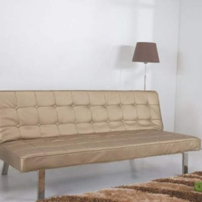 Vegas Futon Sofa Bed in Champagne - ADC-VEG-CSB-PUX-CHP
