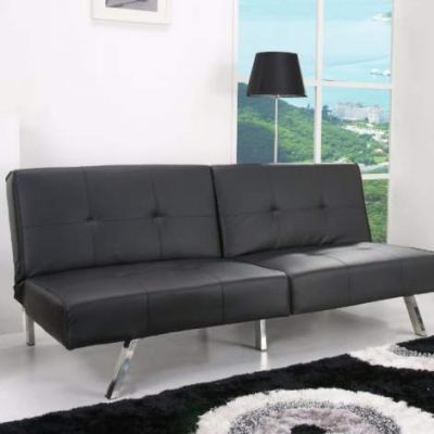 Victorville Foldable Futon Sofa Bed in Black - ADC-VIC-CSB-PUX-BLK