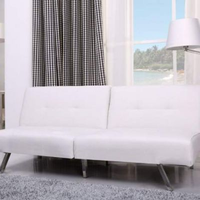 Victorville Foldable Futon Sofa Bed in White - ADC-VIC-CSB-PUX-WHI