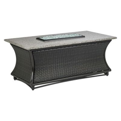 Santa Cruz Chat Height Fire Pit-Brown-Pebble Granite - AFP-CRUZ-RCTPEB-54