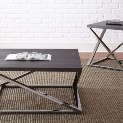 Aegean Square End Table in Black Nickel - AG150E