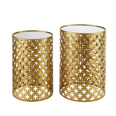 Set of Two Round Gold Nested Tables with Mirror Tops - AHW807AS1