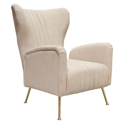 Ava Chair in Sand Linen Fabric with Gold Leg - AVACHSD