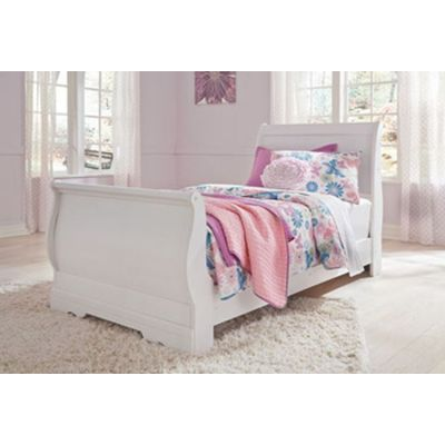 Anarasia Twin Sleigh Bed in White - 001442_Kit