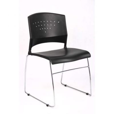 Black Stack Chair With Chrome Frame(5Piece Pack)