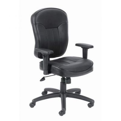 Black Leather Task Chair with Wild Arms
