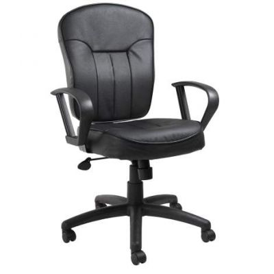 Black Leather Task Chair with Loop Arms - B1562