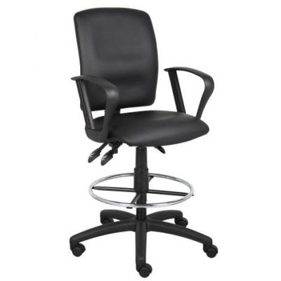 Multi-Function LeatherPlus Drafting Stool with Loop Arms - B1647