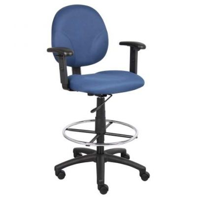 Blue Fabric Drafting Stools with Adj Arms & Footring - B1691-BE