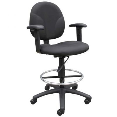 Black Fabric Drafting Stools with Adj Arms & Footring - B1691-BK