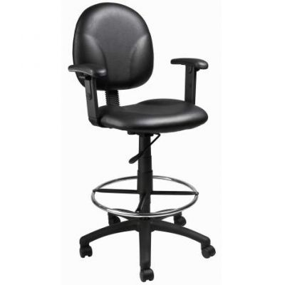 Black Caressoft Drafting Stools with Adj Arms & Footring - B1691-CS