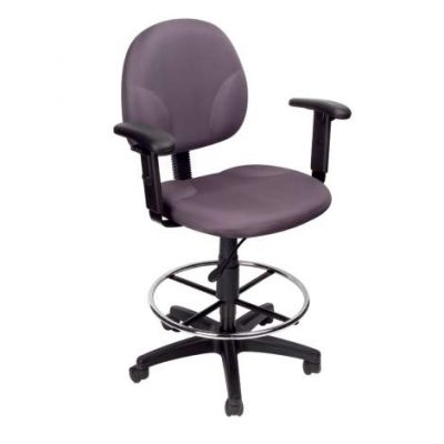 Gray Fabric Drafting Stools withAdj Arms & Footring - B1691-GY