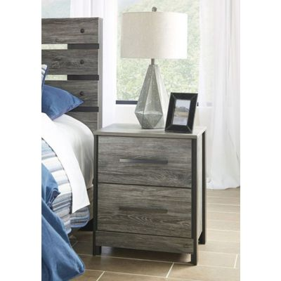Cazenfeld Two Drawer Night Stand in Black & Gray - B227-92