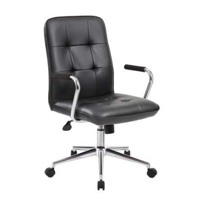 Modern Office Chair with Chrome Arms in Black - B331-BK