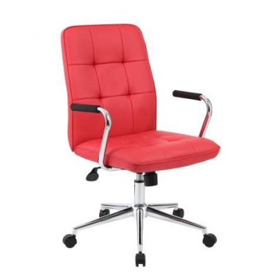 Modern Office Chair with Chrome Arms in Red - B331-RD