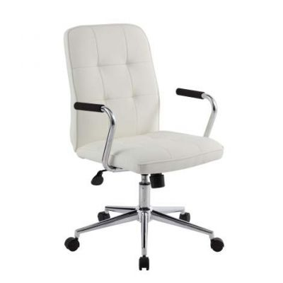 Modern Office Chair with Chrome Armsin White - B331-WT