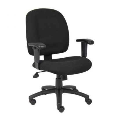 Black Fabric Task Chair with Adjustable Arms - B495-BK