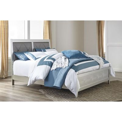 Olivet Queen Panel Upholstered Bed in Silver - 001462_Kit